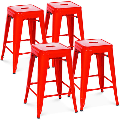 "Best Choice Products Indoor Outdoor Stackable Backless Set Of 4 Metal 24"" Counter Height Bar Stools- Red"