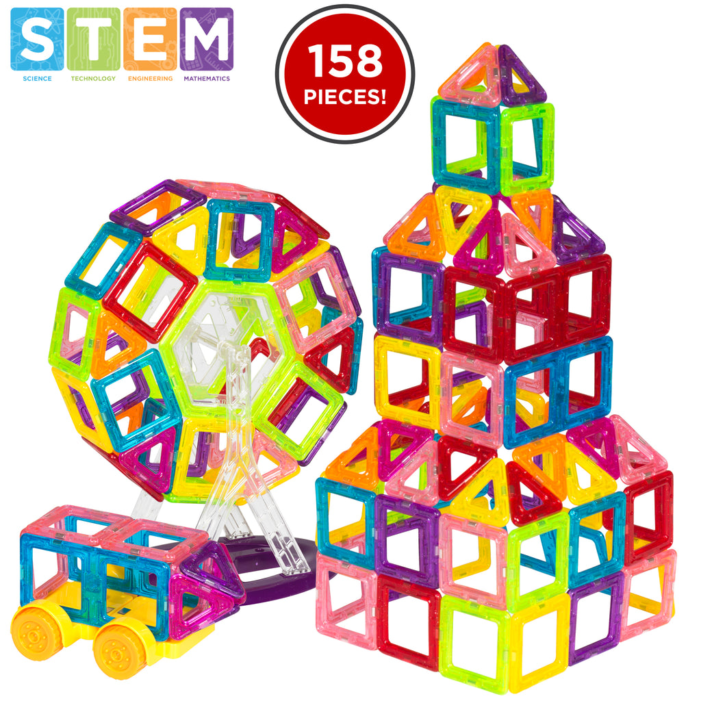 158-Piece Kids Clear Magnetic Building Block Tiles Toy Set - Multicolor