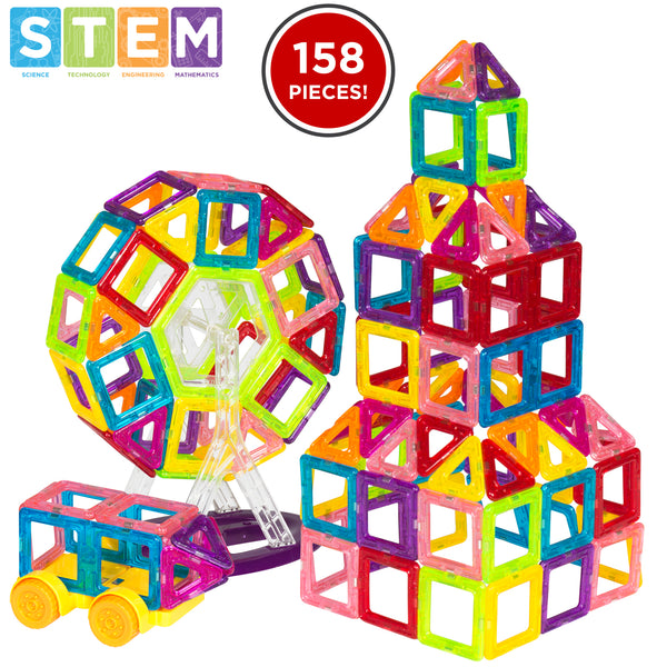 BCP 158-Piece Kids Clear Magnetic Building Block Tiles Toy Set