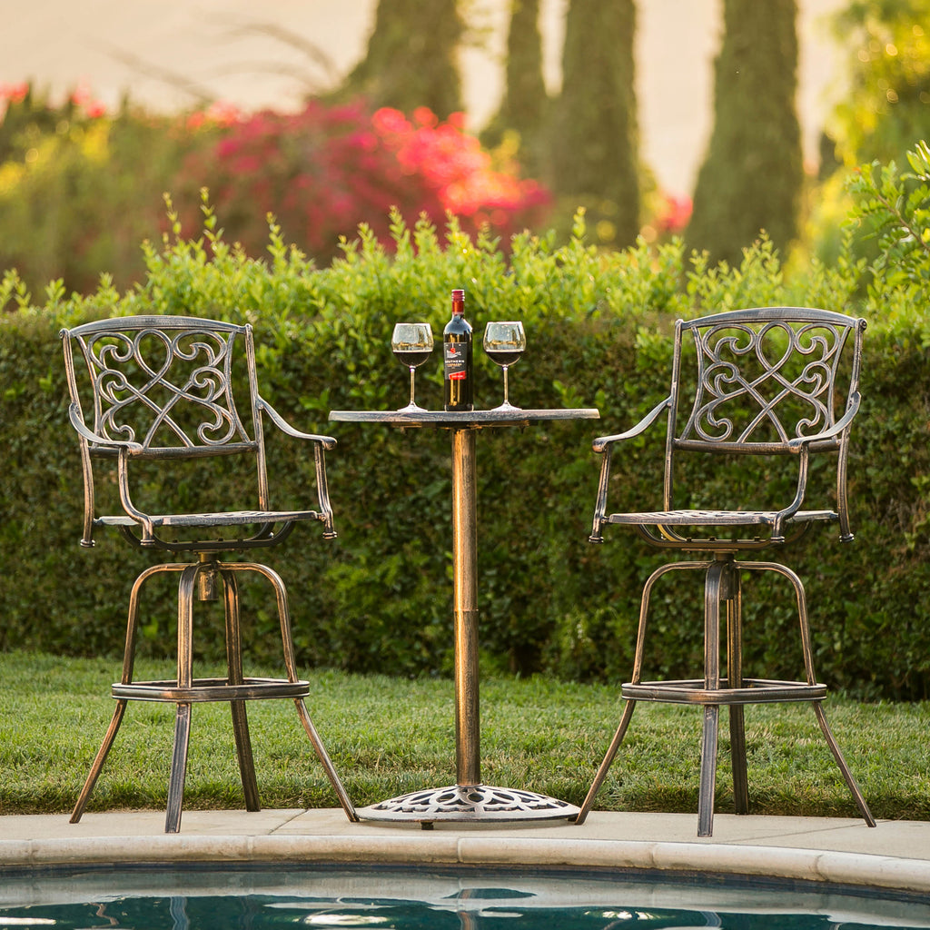 Best Choice Products Outdoor Patio 3-Piece Cast Aluminum Bistro Set, Table and Chairs