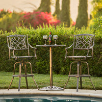Deals on BCP 3-Piece Cast Aluminum Bistro Set w/2 360-Swivel Chairs