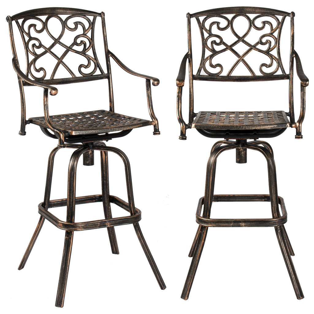 3-Piece Cast Aluminum Bistro Set w/ 2 360-Swivel Chairs - Antique Copper