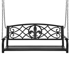 Best Choice Products Outdoor Furniture Metal Fleur-De-Lis Hanging Patio Porch Swing- Black