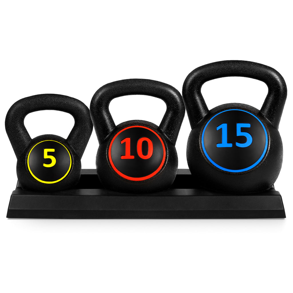 3-Piece Kettlebell Exercise Fitness Weights Set w/ Base Rack - Black