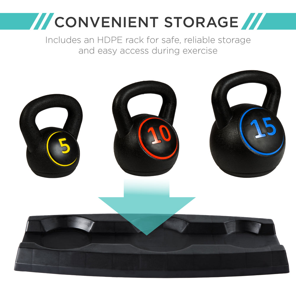 3-Piece Kettlebell Exercise Fitness Weight Set w/ Storage Rack
