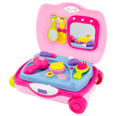 Best Choice Products Toy Kids Pretend Vanity Playset Suitcase W/ Makeup, Music, And Sounds