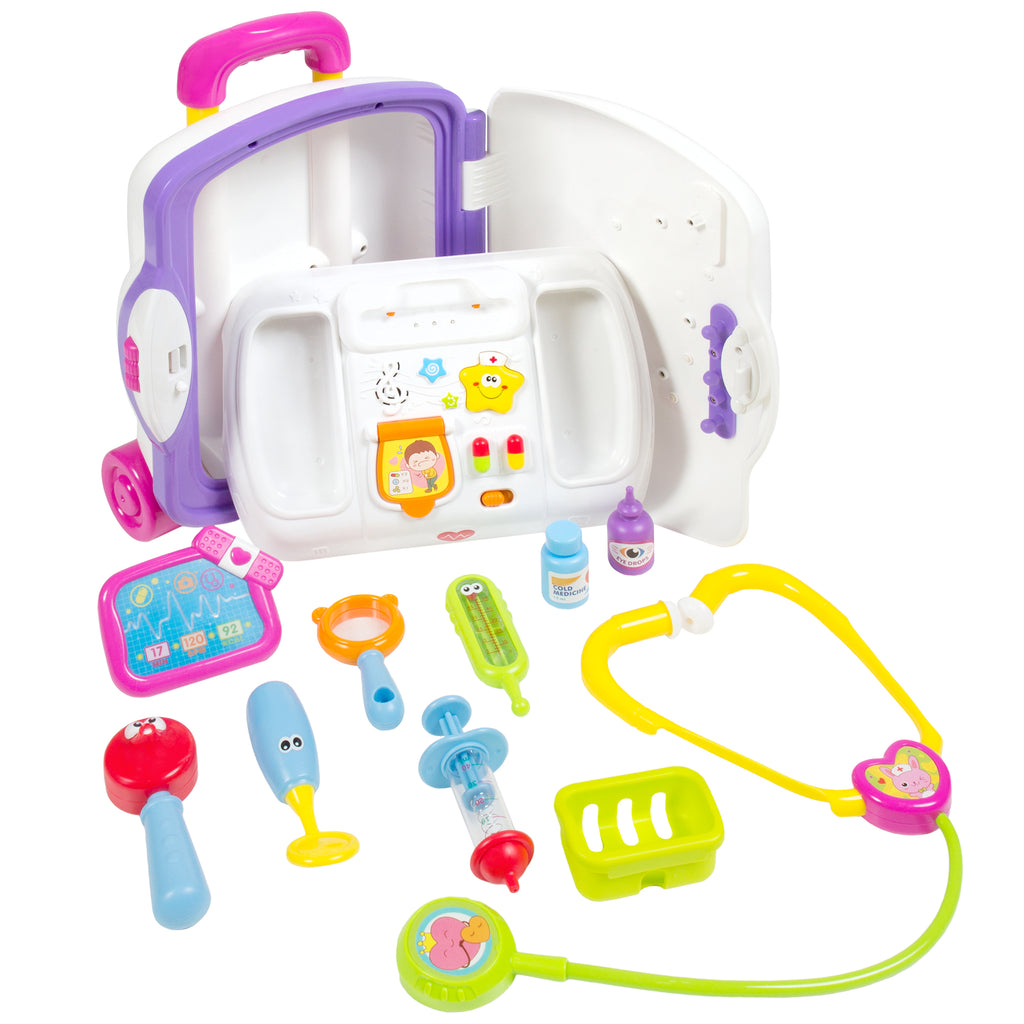 Best Choice Products Toy Kids Pretend Doctor Playset Suitcase w/ Medical Kit, Music, And Sounds