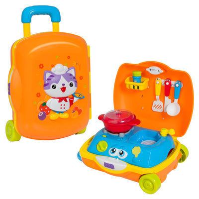 Best Choice Products Kids Cooking Toy Kitchen Pretend Playset Suitcase W/ Music, And Sounds