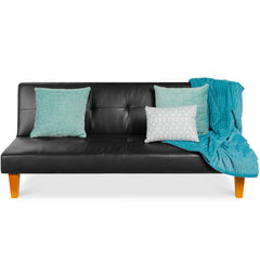 Leather Tufted Futon (Black)