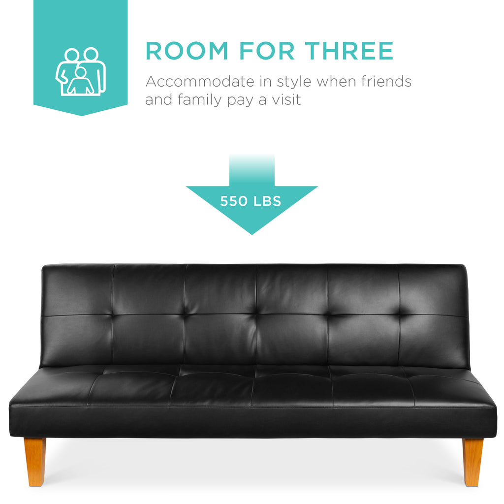 Faux Leather Convertible Futon Sofa Bed w/ Wood Frame