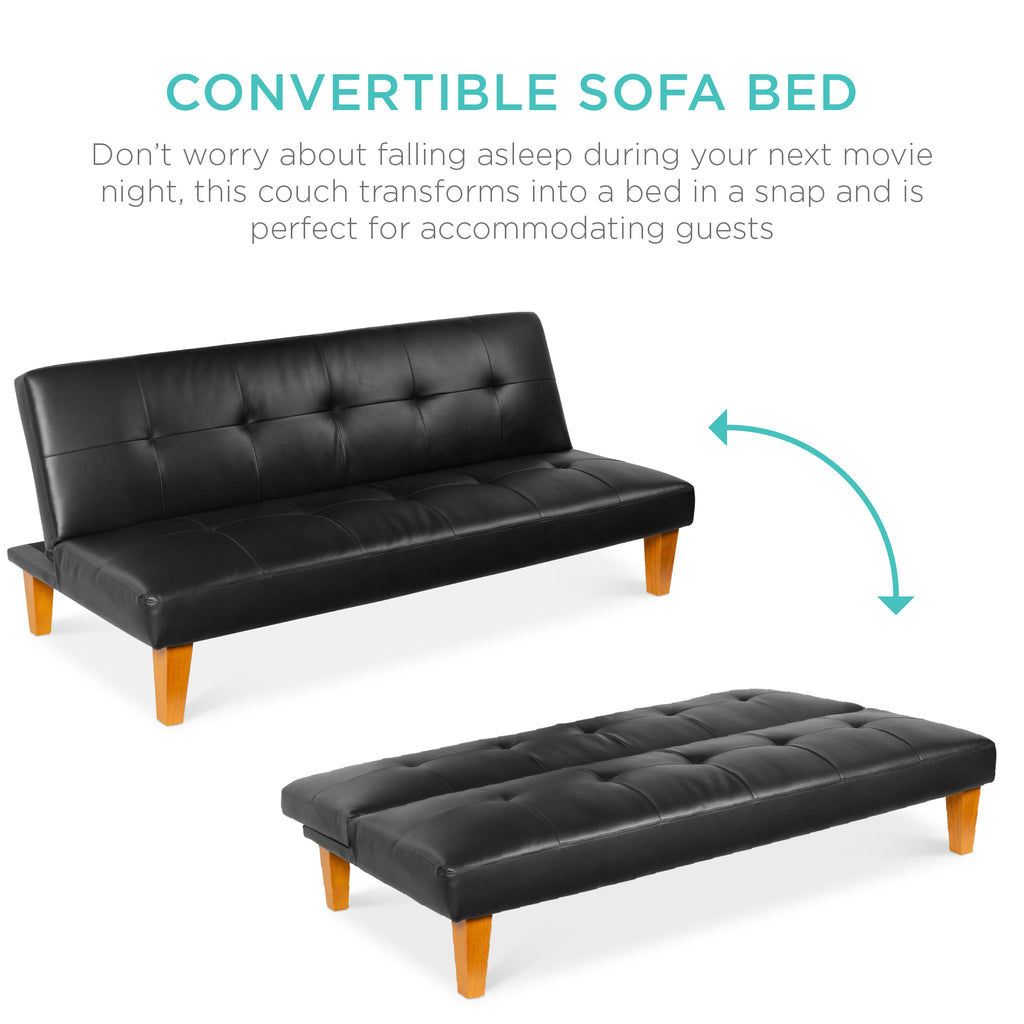 Convertible Lounge Futon Sofa Bed w/ Adjustable Back, Tufted Design