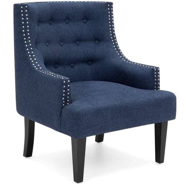 Classic Tufted Accent Chair w/ Nailhead Details & Wooden Legs - Royal Blue
