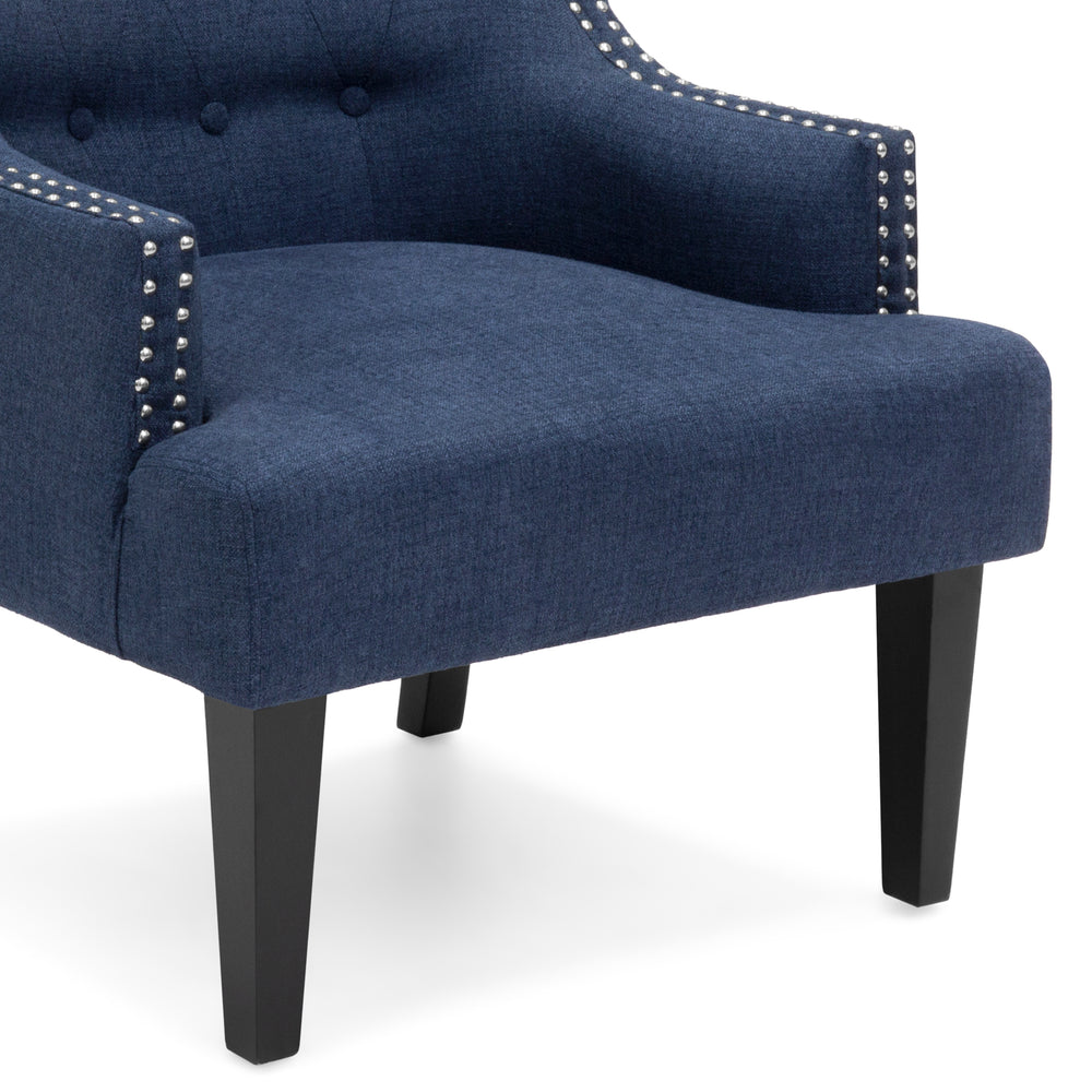 Superbe Classic Tufted Accent Chair W/ Nailhead Details U0026 Wooden Legs   Royal Blue