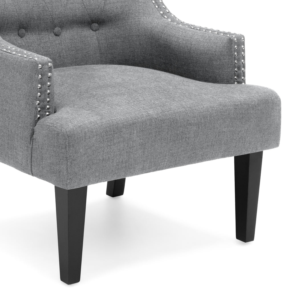 Classic Tufted Accent Chair w/ Nailhead Details & Wooden Legs - Gray