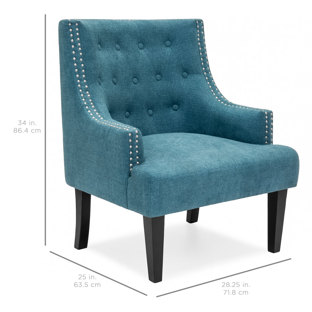 Classic Tufted Accent Chair w/ Nailhead Details & Wooden Legs - Teal