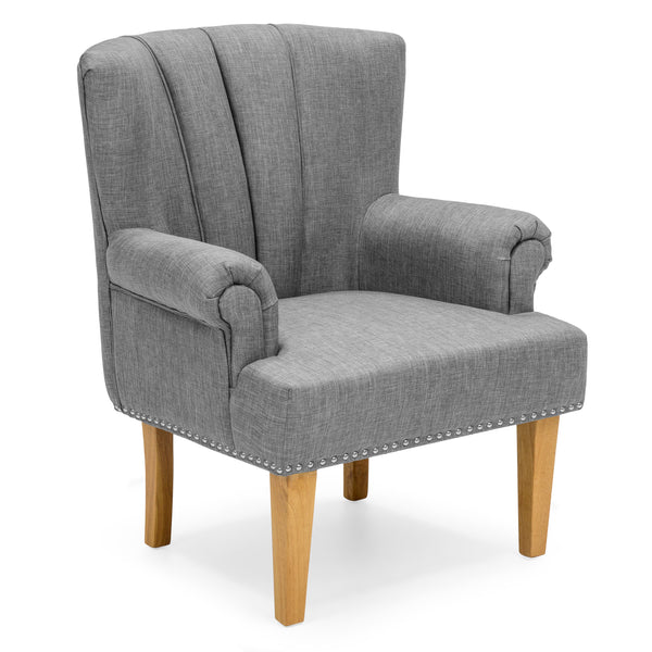 Living Room Accent Chair w/ Nailhead Detail, Linen Upholstery, Armrest, and Wood Legs - Gray