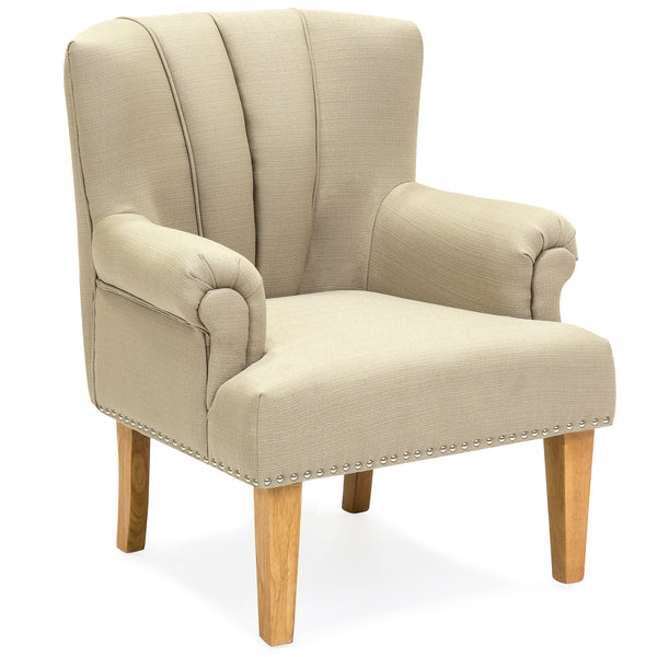 Living Room Accent Chair w/ Nailhead Detail, Linen Upholstery, Armrest, and Wood Legs - Beige
