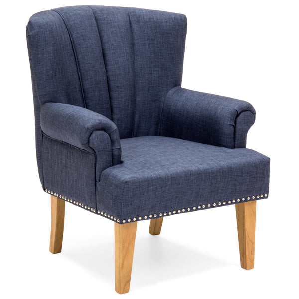 Living Room Accent Chair w/ Nailhead Detail, Linen Upholstery, Armrest, and Wood Legs - Blue