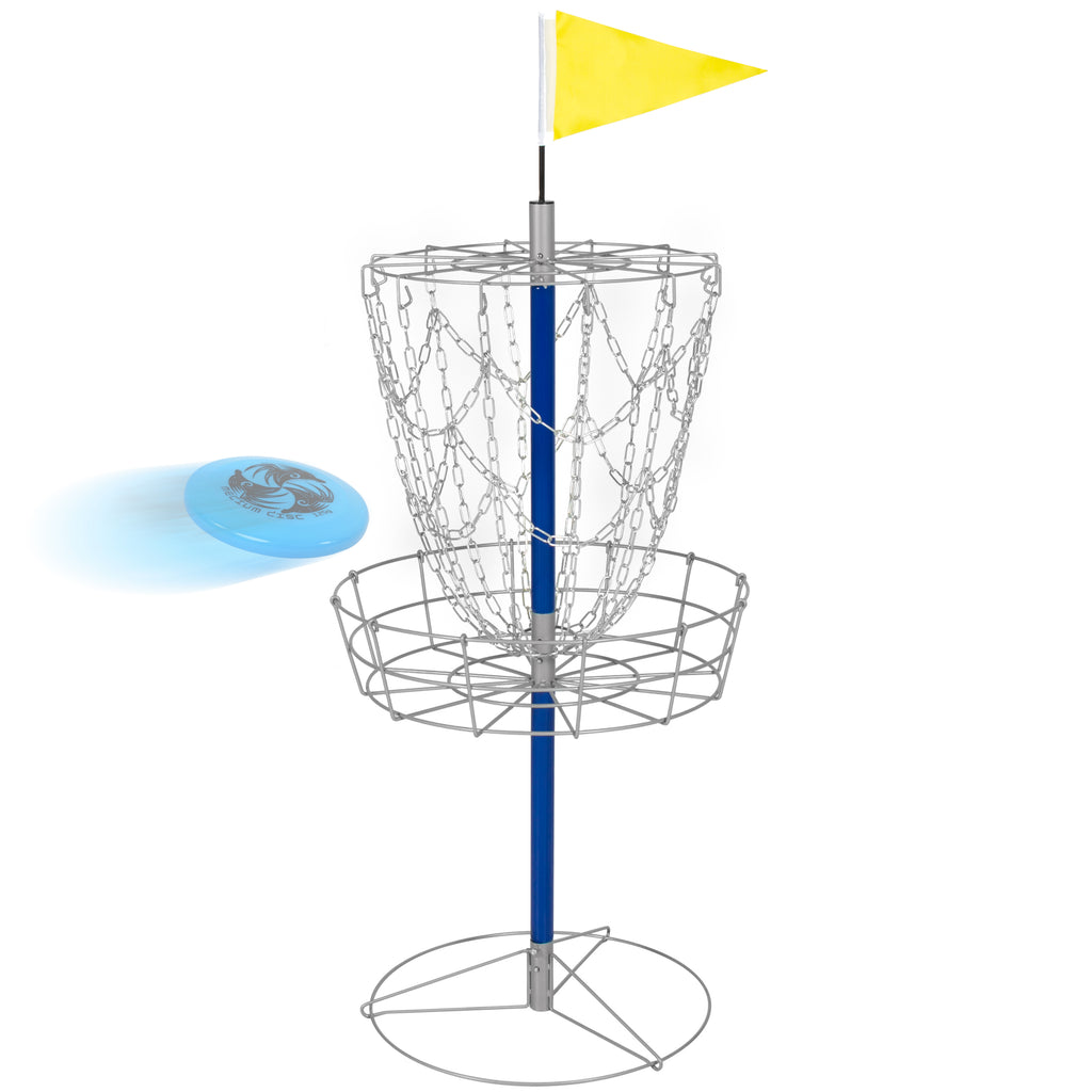 Portable Disc Golf Basket Double Chains Steel Frisbee Hole
