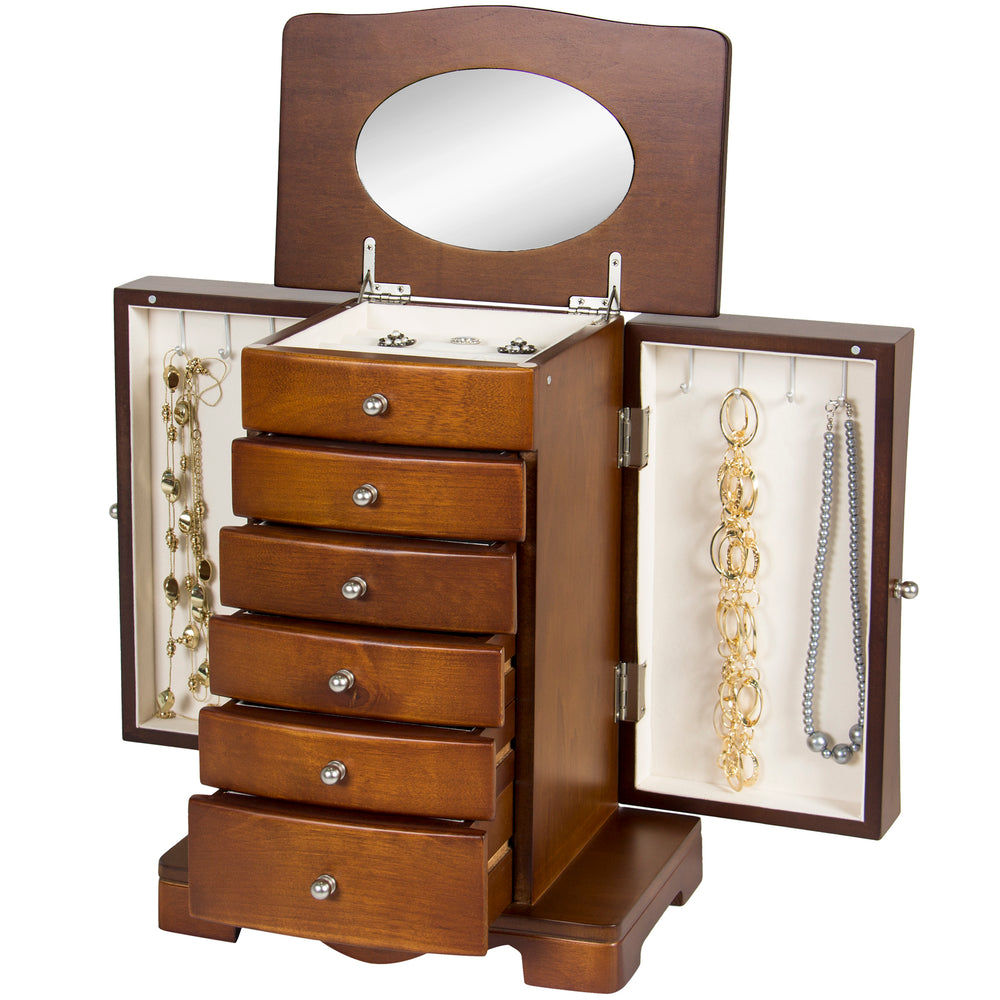 Handcrafted Wooden Jewelry Armoire w Mirror Brown Best Choice