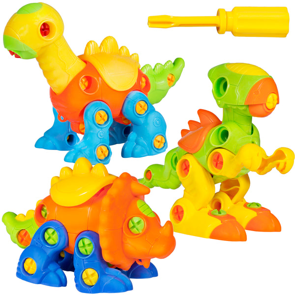 Set Of 3 106-Piece Take-Apart Dinosaur Toy Puzzle w/ Tools