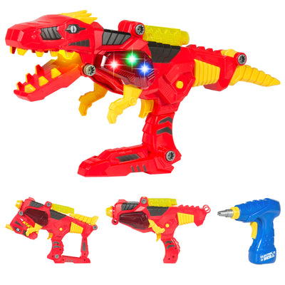 Best Choice Products Kids Toy 17 Pc Take-A-Part Dino Blaster Set W/ Drill, Lights, And Sounds