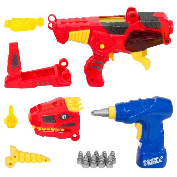 Best Choice Products 17 Pc Take-A-Part Kids Toy Dinosaur Blaster Gun Set W/ Drill, Lights, And Sounds