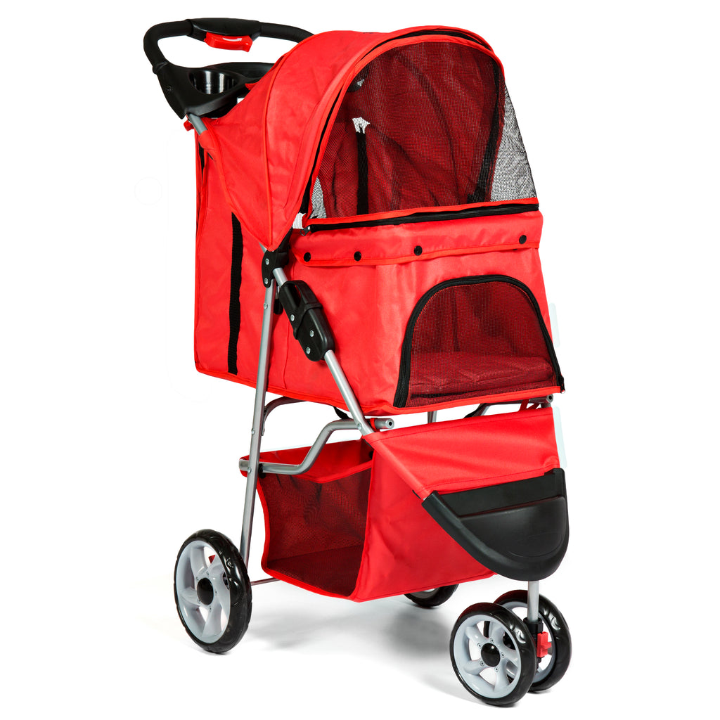 Best Choice Products 3-Wheel Folding Pet Stroller Travel Carrier Carriage For Cats And Dogs- Red