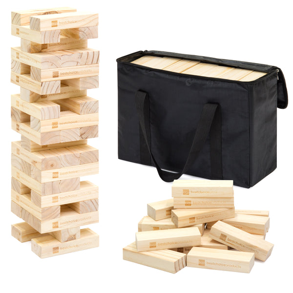 Giant Wooden Tumbling Blocks Stacking Game w/ Carrying Bag