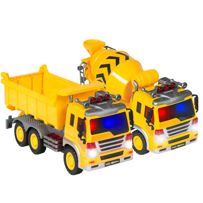 Best Choice Products Kids 2-Pack Assembly Push-And-Go Construction Trucks Vehicles Cement Mixer, Dump Truck