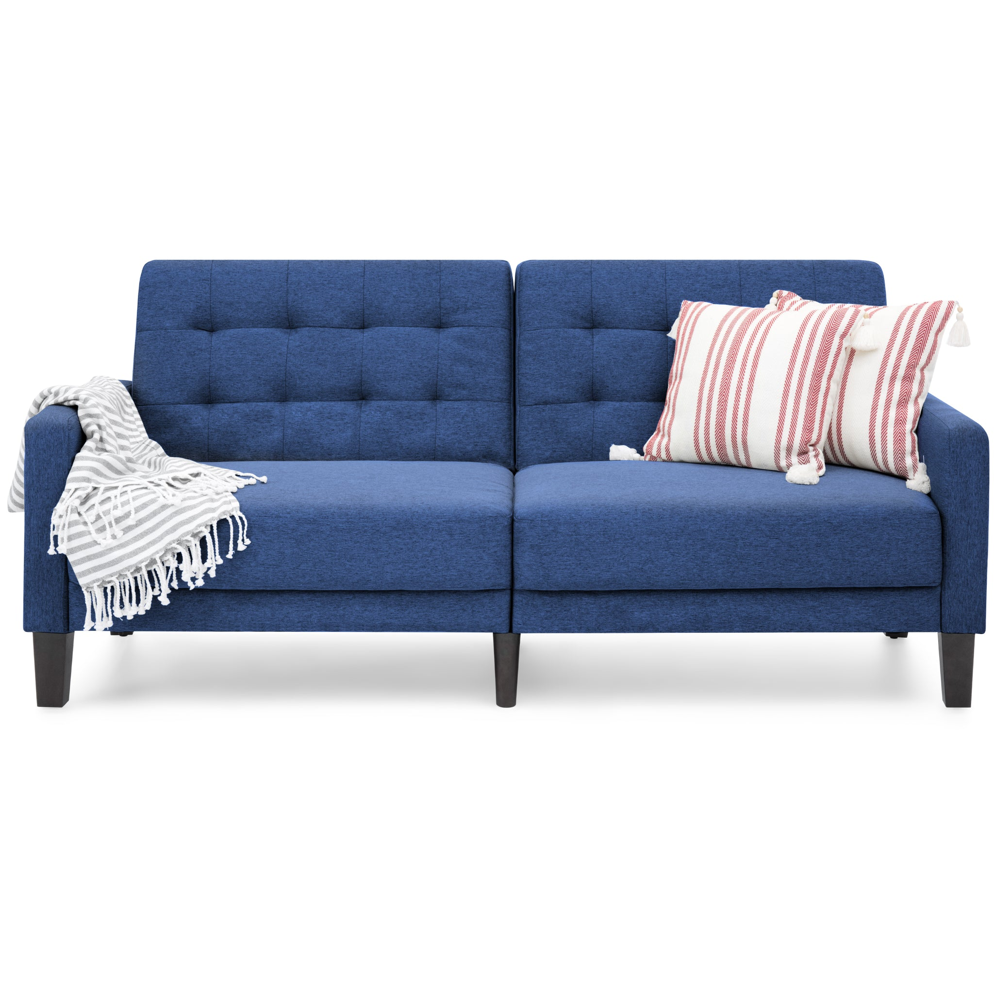 Convertible Linen Upholstered Split Back Futon Navy – Best
