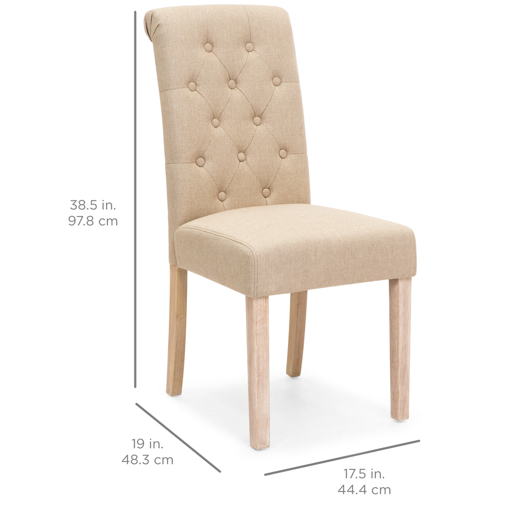 Set of 2 Tufted Parsons Dining Chairs