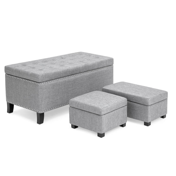 Rectangular Fabric Storage Ottoman Nailhead Trim Trio Tufted Benches - Gray
