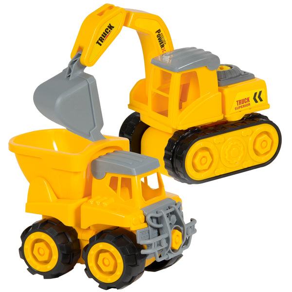 Best Choice Products Kids 2-Pack Assembly Take-A-Part Toy Construction Trucks Vehicles Excavator, Dump Truck, Play Tools