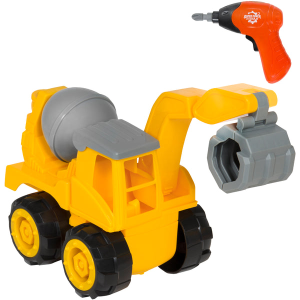 Best Choice Products Kids Assembly Take-A-Part Excavator Crane Toy Construction Truck Vehicle w/ Play Drill, Tools