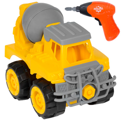 Best Choice Products Kids Assembly Take-A-Part Cement Mixer Toy Construction Vehicle Play Set W/ Toy Drill, Tools
