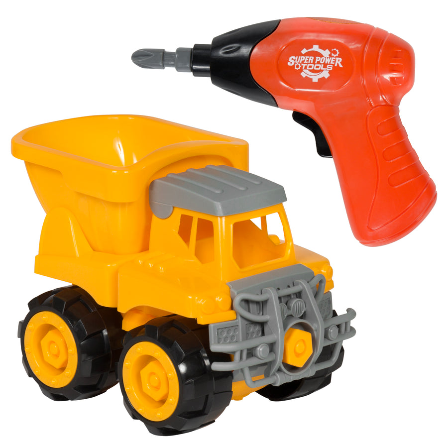 Best Choice Products Assembly Take-A-Part Dump Truck Vehicle Toy Construction Vehicle w/ Drill, Tools