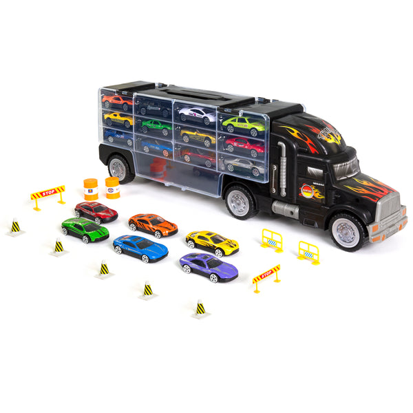 Best Choice Products Kids 2-Sided Transport Car Carrier Semi Truck Toy w/ 18 Cars And 28 Slots
