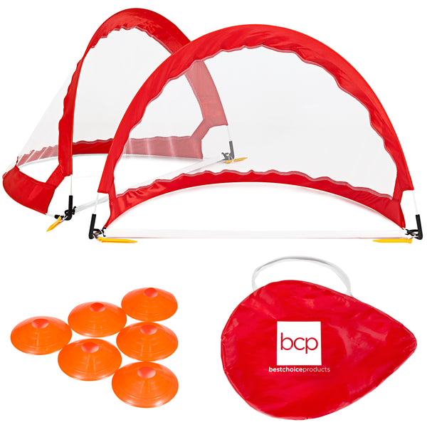 Portable Pop-Up Soccer Goals Set - Red