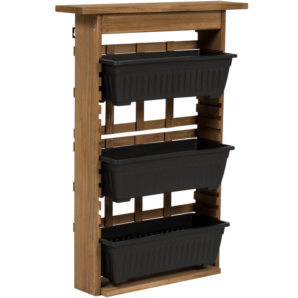 Best Choice Products Outdoor Rustic Wooden Garden Vertical Wall Mount 3-Tier Planter