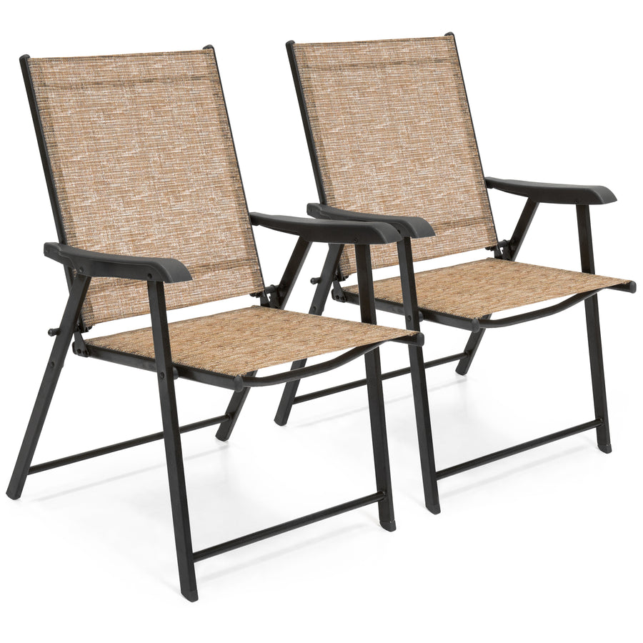 Set of 2 folding sling back chairs brown best choice for Best folding chairs outdoor
