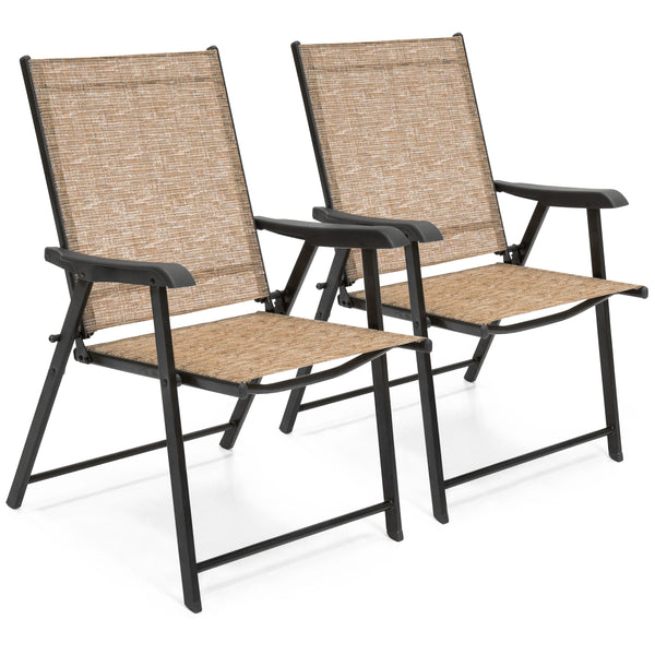 Set of 2 Folding Sling Back Chairs - Brown
