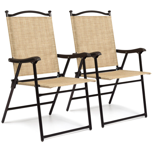 Set of 2 Folding Sling Back Chairs