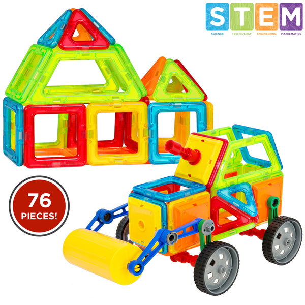 Best Choice Products Kids 76-Piece Multi Colors Magnetic Blocks Tiles Educational STEM Toy Steamroller Building Set