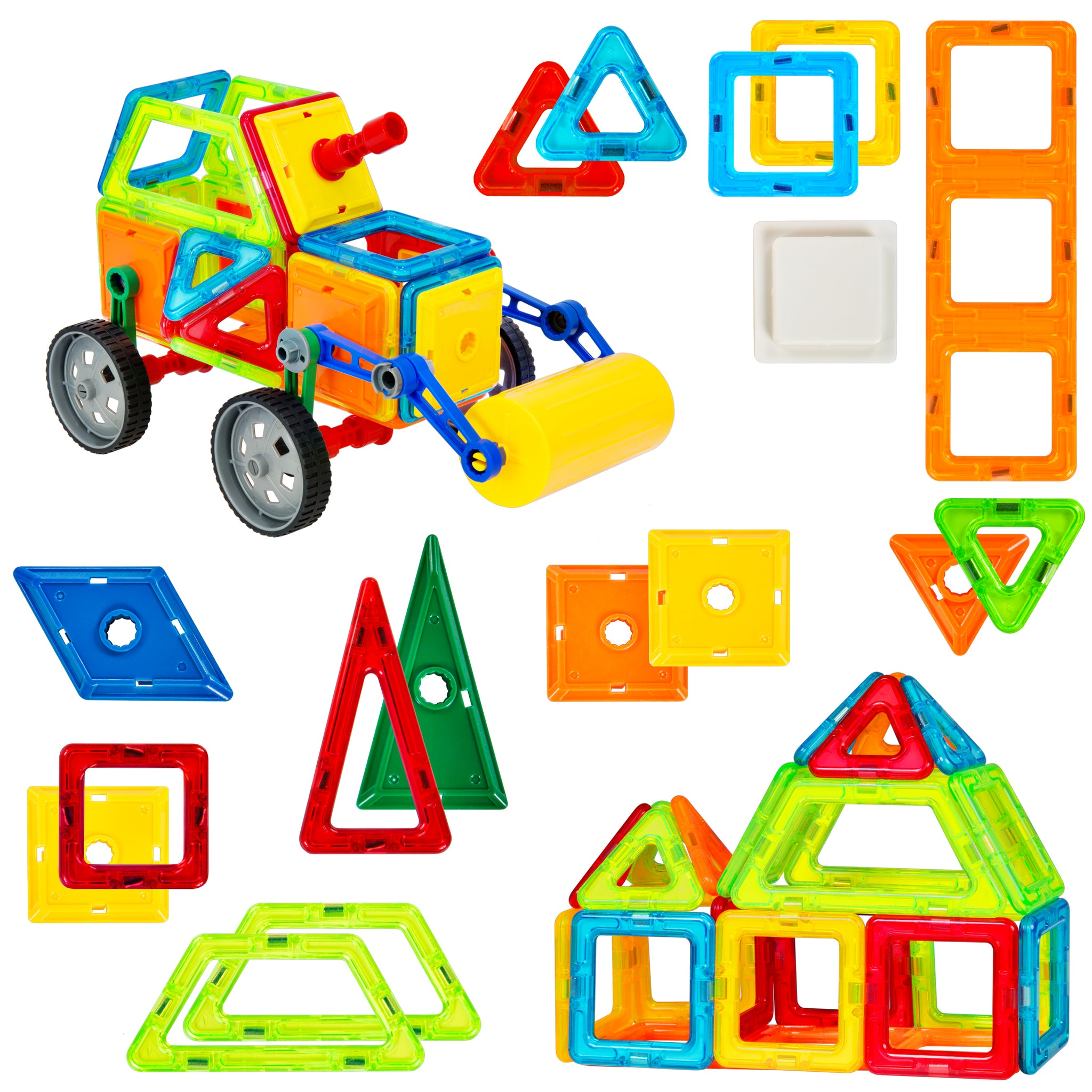 Best Choice Products Kids 76 Piece Multi Colors Magnetic Blocks Tiles