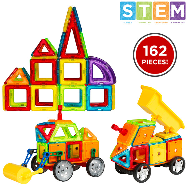 Best Choice Products Kids 162PC Multi Color Magnetic Blocks Tiles Education STEM Toy Steamroller Dump Truck Building Set