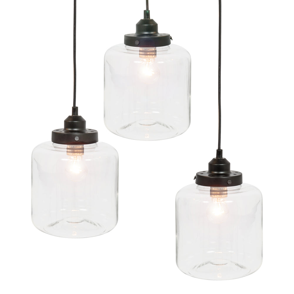 3 light jar pendant chandelier black best choice products 3 light jar pendant chandelier black arubaitofo Choice Image