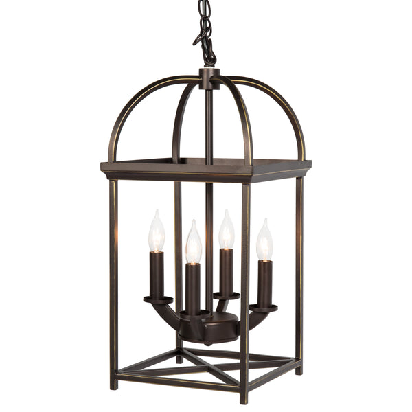Best Choice Products Home 4-Light Ceiling Chandelier Hanging Foyer Lantern W/ Bronze Finish
