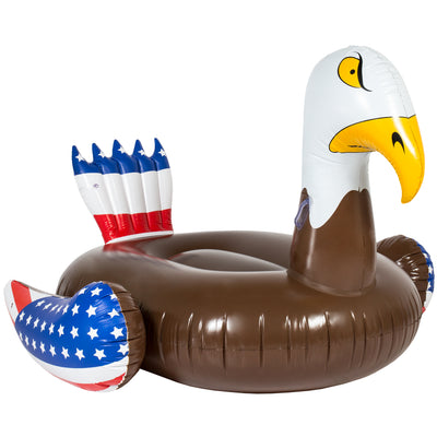 Best Choice Products Inflatable Giant Patriotic American Bald Eagle Bird Party Pool Float Raft