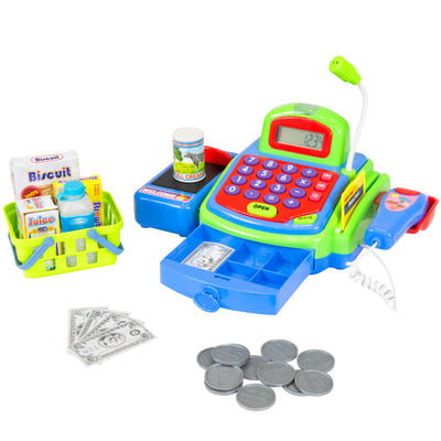 Best Choice Products Educational Kids Pretend Toy Battery Operated Cash Register W/ Working Scanner, Mic, And Calculator